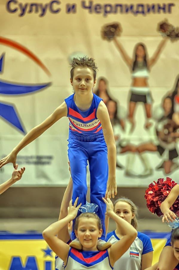 Cheerleading Championship Action royalty free stock image
