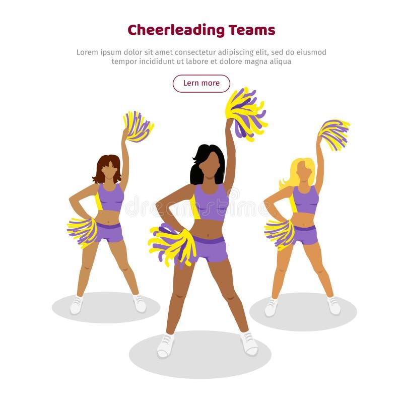 Cheerleading drużyny sieci sztandar Dziewczyny z pomponami ilustracji
