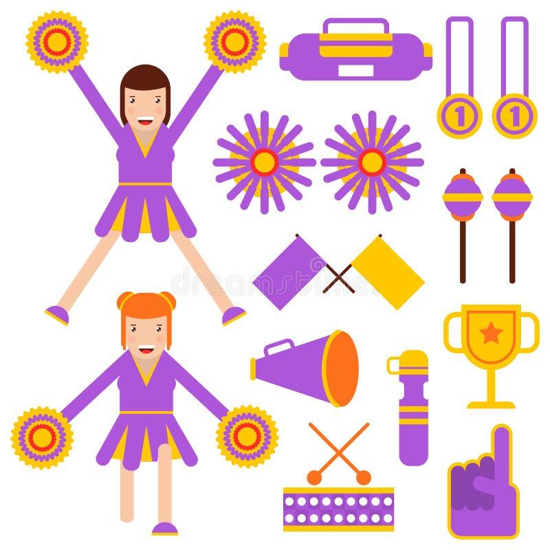 Cheerleading elementów i chirliderka dziewczyn akcesoriów wektorowe płaskie ikony ilustracji