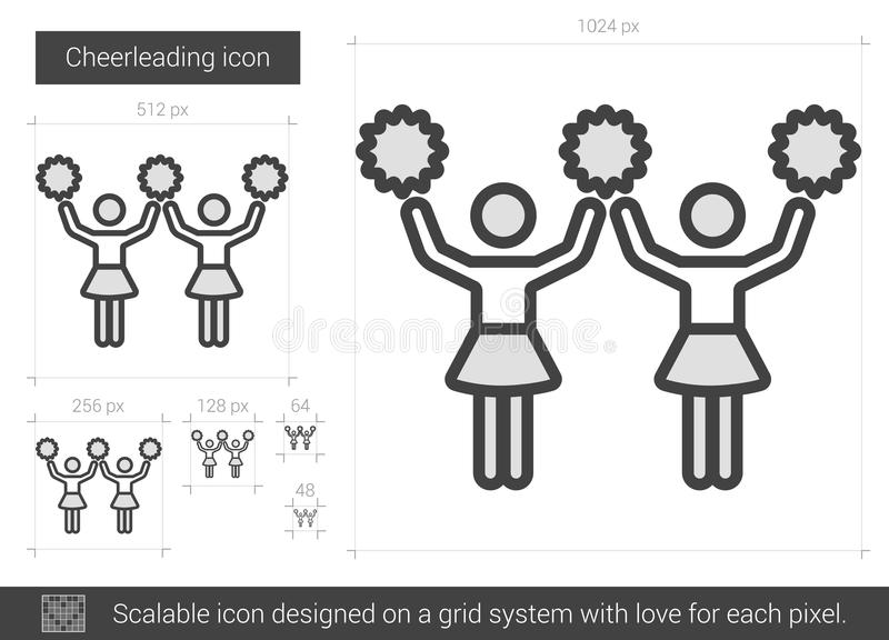 Cheerleading linje symbol stock illustrationer