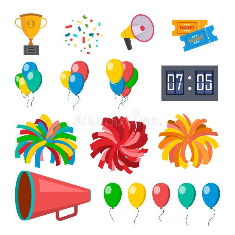 Cheerleading symboler ställde in vektorn Hejaklacksledaretillbehör Pompoms ballonger, konfettier, megafon Isolerad plan tecknad f royaltyfri illustrationer