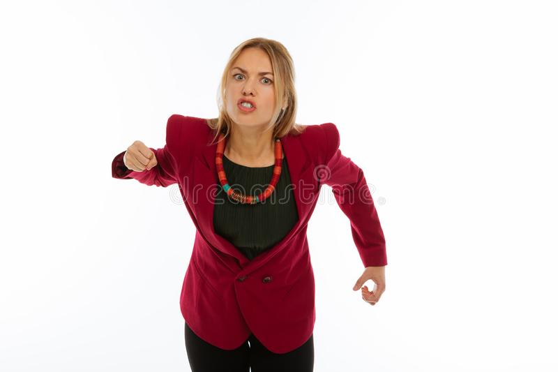 Cheerless emotional unhappy woman shouting at you royalty free stock photography