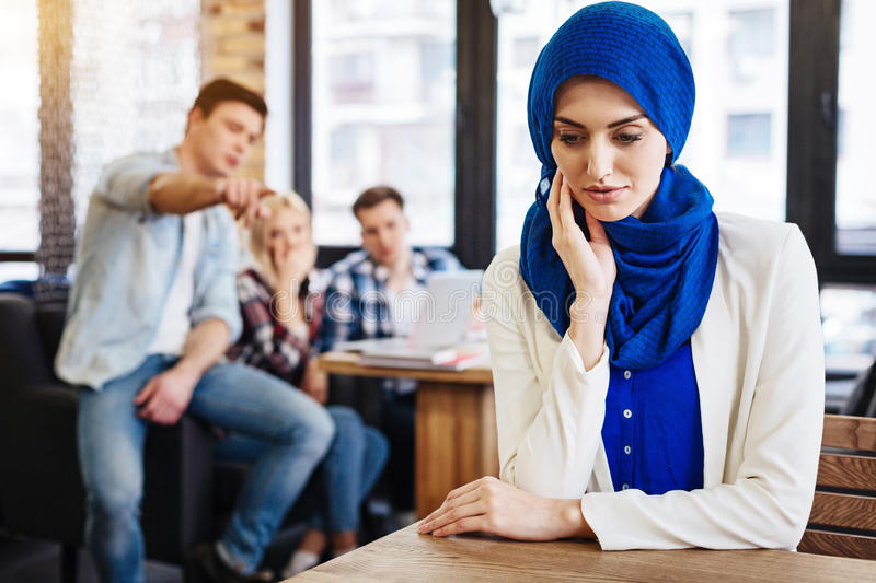 Cheerless muslim woman feeling unjustice from the society royalty free stock photos