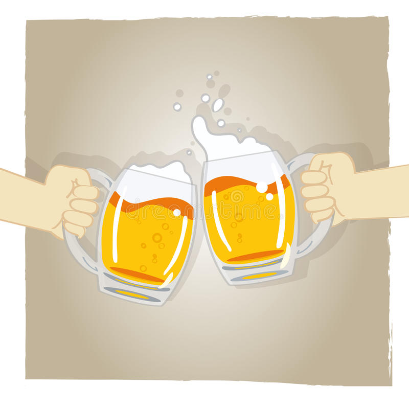Cheers vector. Illustration of two hands holding glass of foamy beer + vector eps file vector illustration