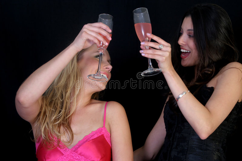 Cheers. Two women toasting each other royalty free stock images