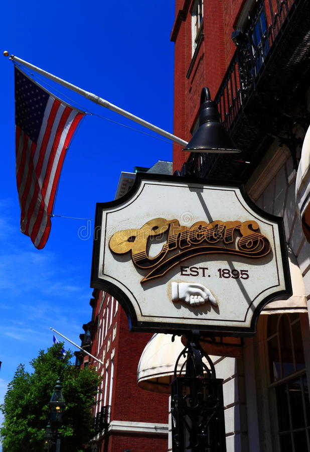 Cheers Bar Restaurant. Featured in Cheers TV show, Established in 1895, Beacon Hill Boston, Massachusetts United States royalty free stock photos