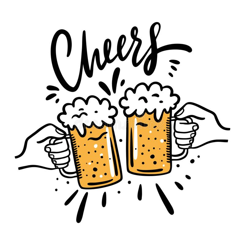Cheers With Beer Glasses Mug Hand Drawn Vector Illustration Cartoon Style Isolated On White Background Stock Illustration Illustration Of Isolated Advertising 146607049