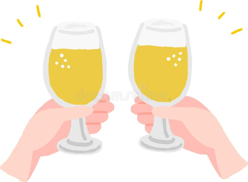 Cheers hand with beer vector illustration