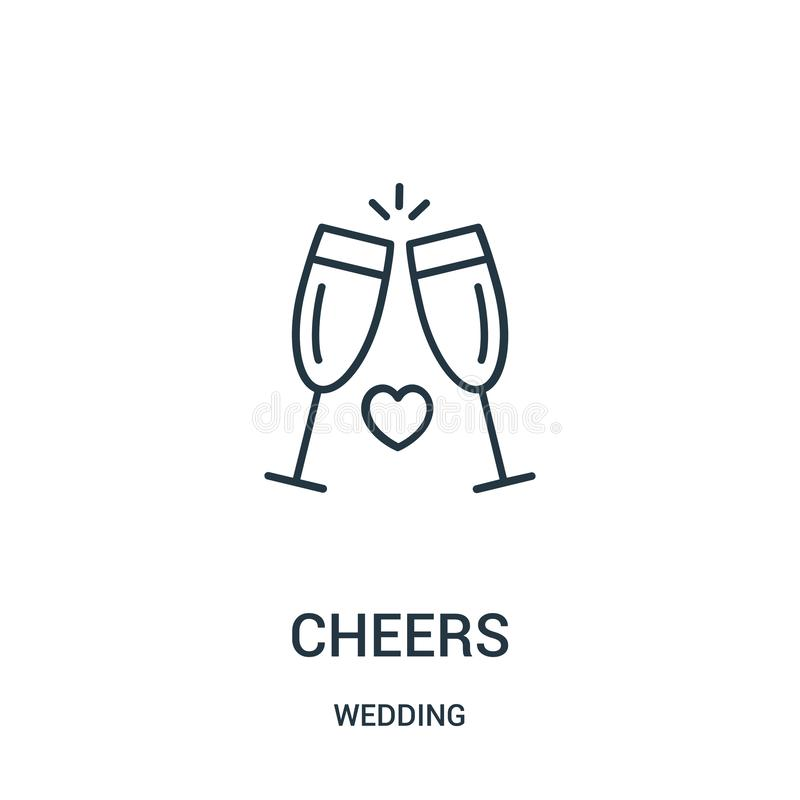 cheers icon vector from wedding collection. Thin line cheers outline icon vector illustration vector illustration