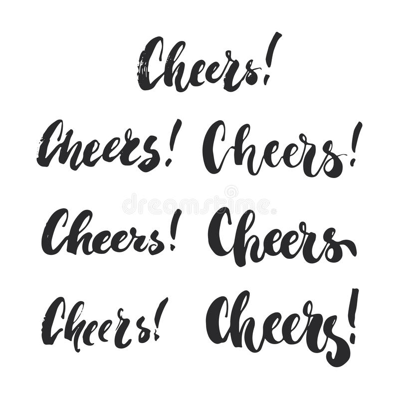 Cheers - lettering Christmas and New Year holiday calligraphy phrases set isolated on the background. Fun brush ink vector illustration
