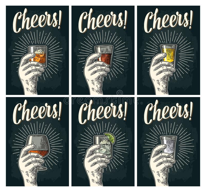Cheers lettering. Hand hold glass brandy, tequila, gin, rum, whiskey. Male hand holding glass with brandy, tequila, gin, vodka, rum, whiskey. Cheers calligraphy vector illustration