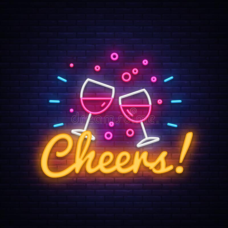 Cheers neon sign vector. Wine Party celebration Design template neon sign, light banner, neon signboard, nightly bright. Advertising, light inscription. Vector royalty free illustration