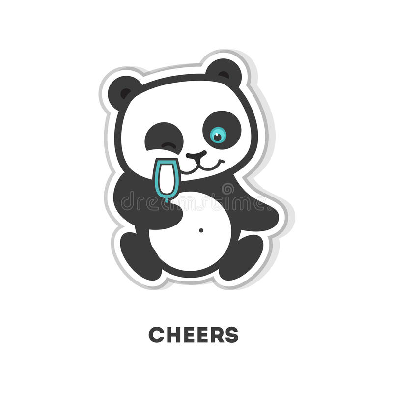 Download cheers panda sticker stock vector illustration of emoji 91066888