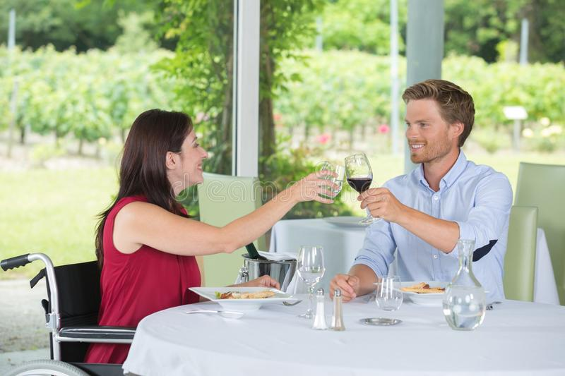 Cheers to good food. Recreation royalty free stock photos