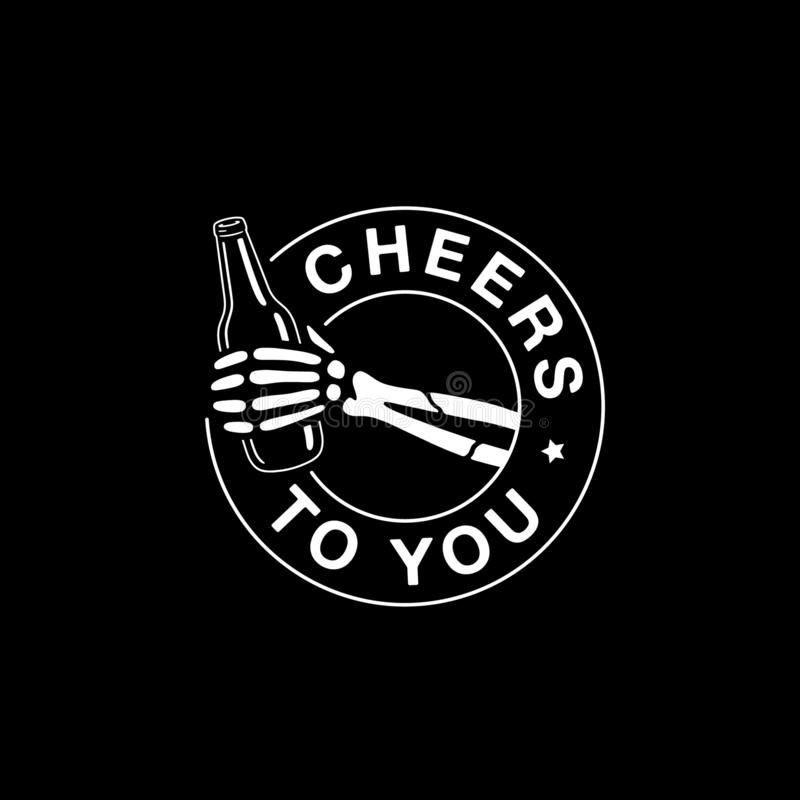 CHEERS TO YOU SKELETON HAND WITH BEER. BLACK BACKGROUND royalty free illustration