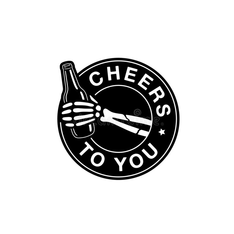 CHEERS TO YOU SKELETON HAND WITH BEER. WHITE BACKGROUND royalty free illustration