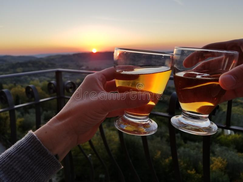 Cheers from Tuscany royalty free stock photo