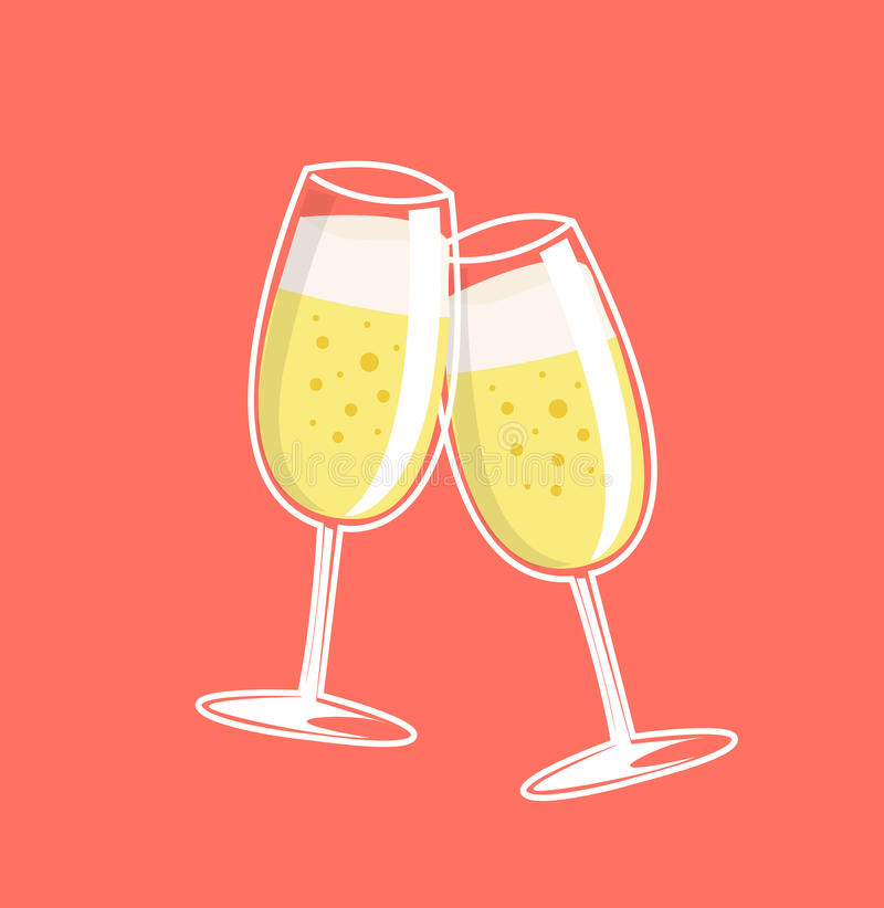 Cheers, two champagne glasses. vector illustration