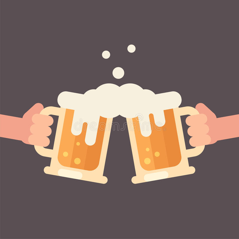 Cheers, two hands holding beer mugs illustration stock illustration