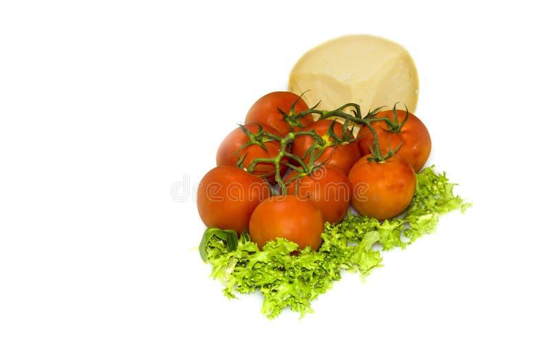 Chees e tomates imagens de stock