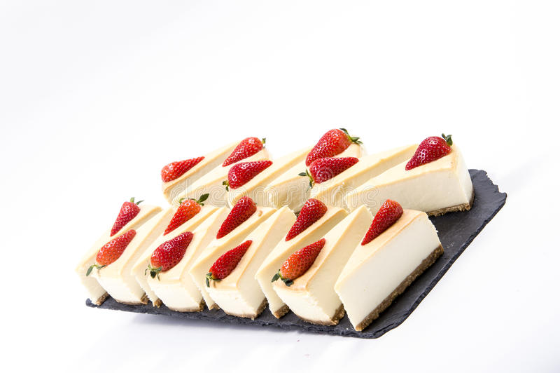 Cheescake and fruit royalty free stock images