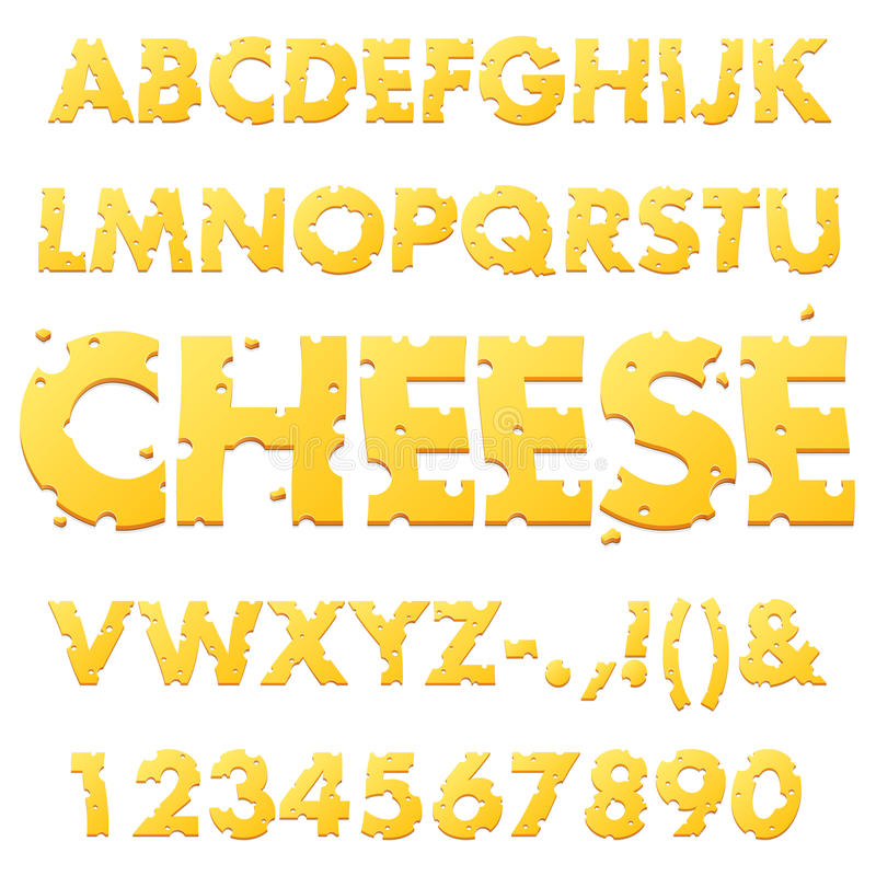 Cheese Alphabet Letters. A set of font letters made of Swiss cheese stock illustration