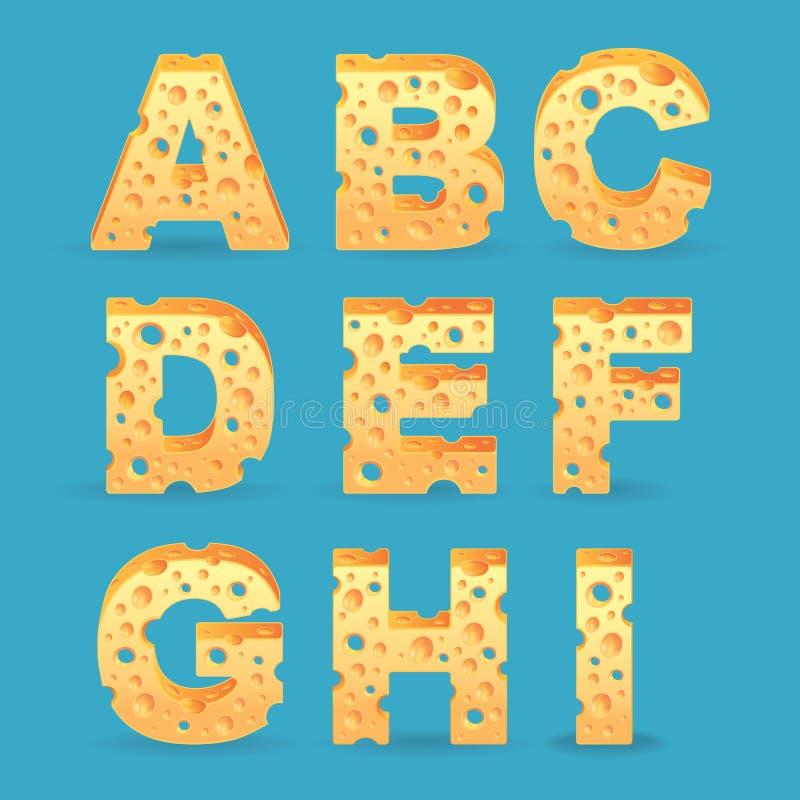 Cheese alphabet set. Vector illustration royalty free illustration