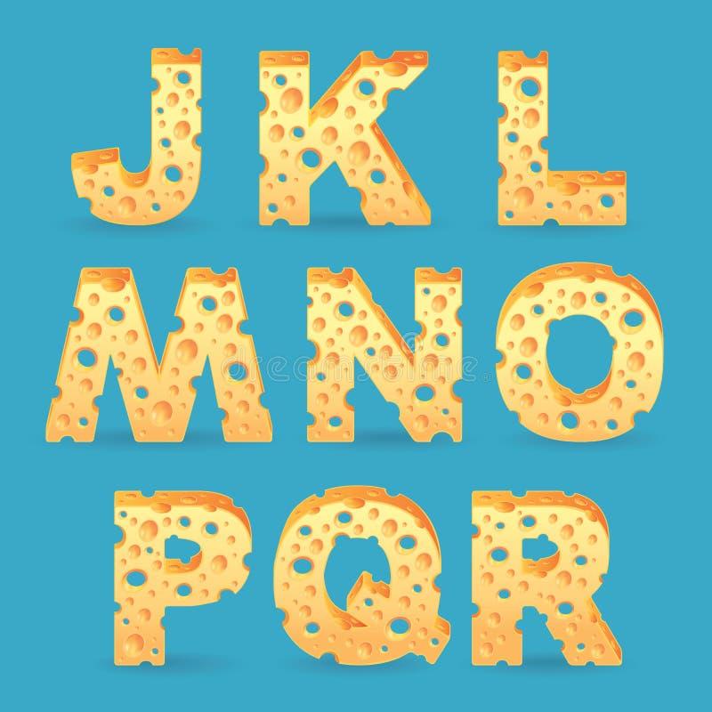 Cheese alphabet set. Vector illustration stock illustration