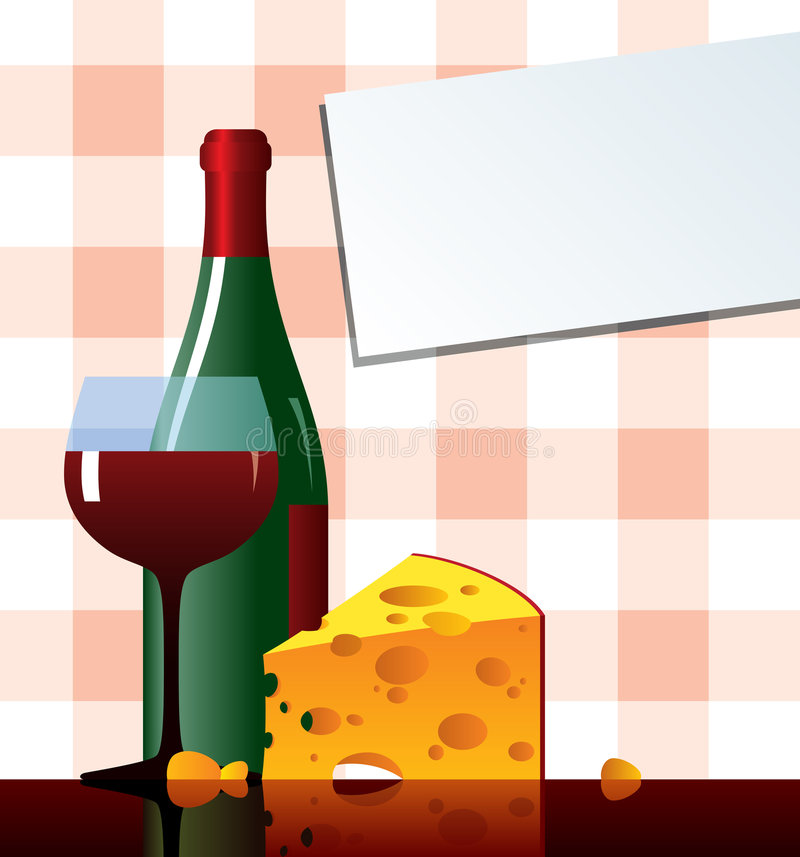 Cheese&vine lizenzfreie abbildung