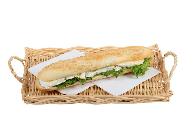 Cheese baguette. Against a white backdrop royalty free stock photo