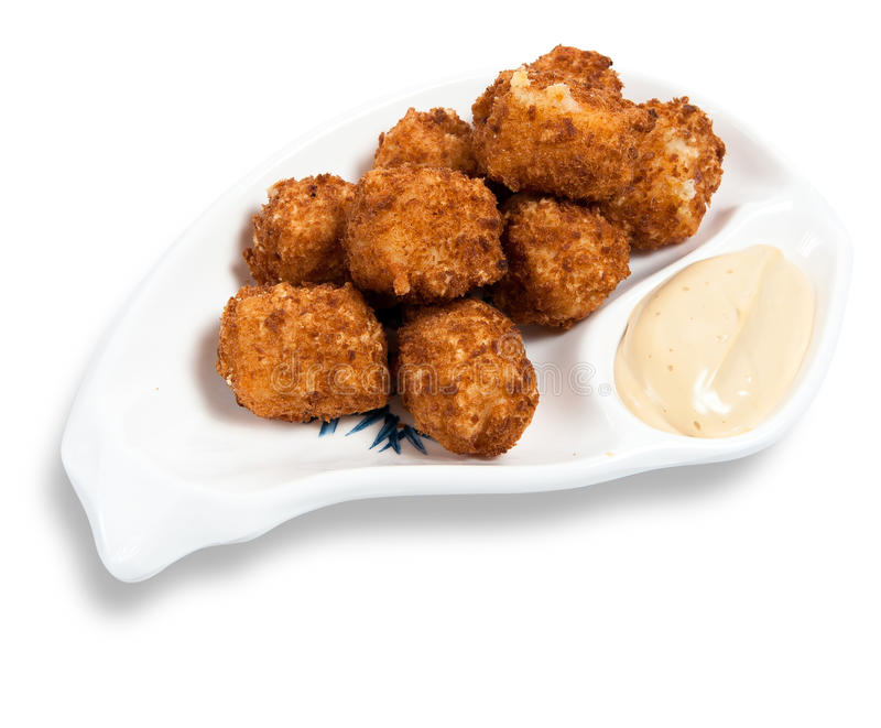Cheese balls with garlic sauce royalty free stock photo