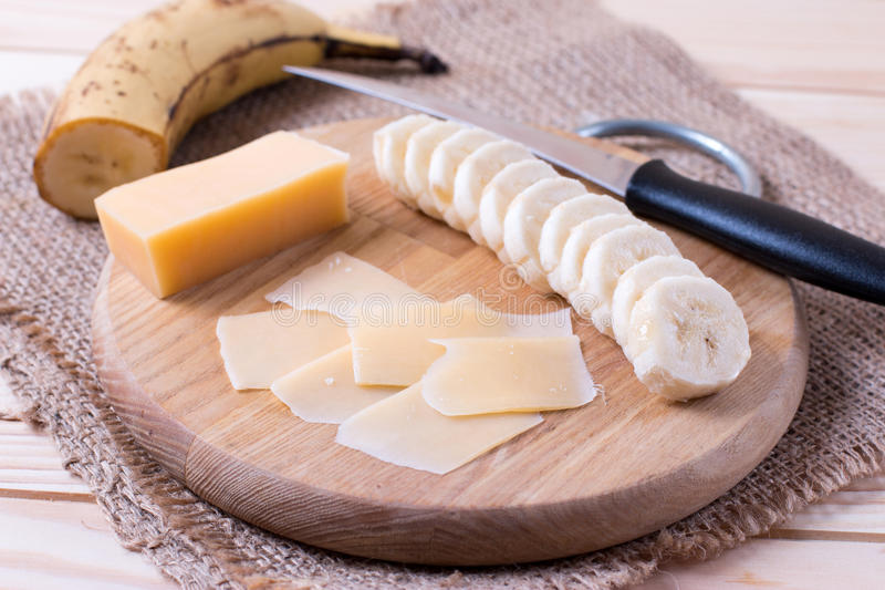 Cheese and banana ingredients stock photos