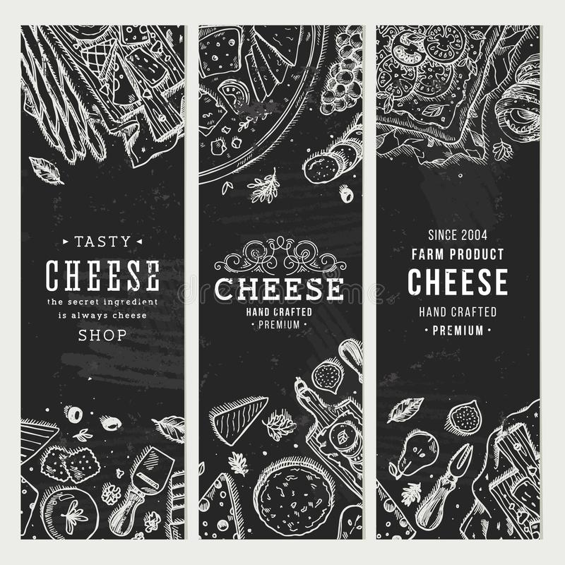 Free Cheese Banner Collection. Antipasto Table Background. Vector Illustration Stock Photography - 117694342