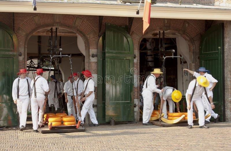 Cheese bearers in Weighing House, Alkmaar, Holland royalty free stock photo
