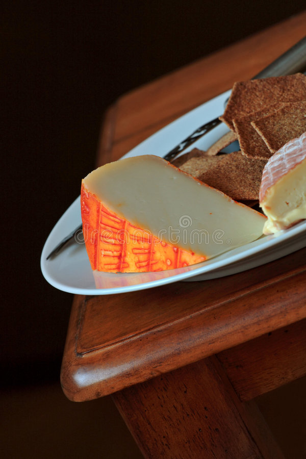 Cheese and biscuits royalty free stock image