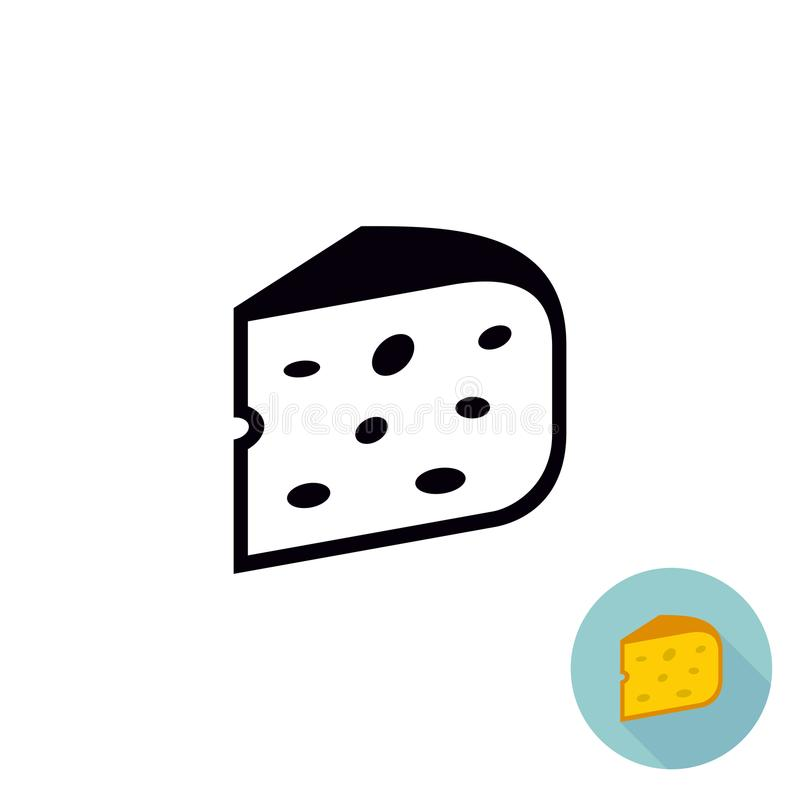 Cheese black icon. Piece of cheese isolated. royalty free illustration