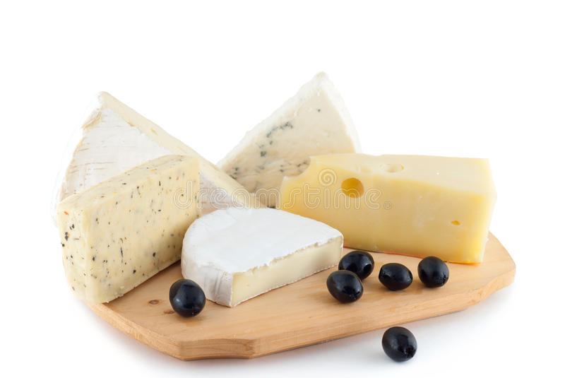 Cheese and black olives stock image