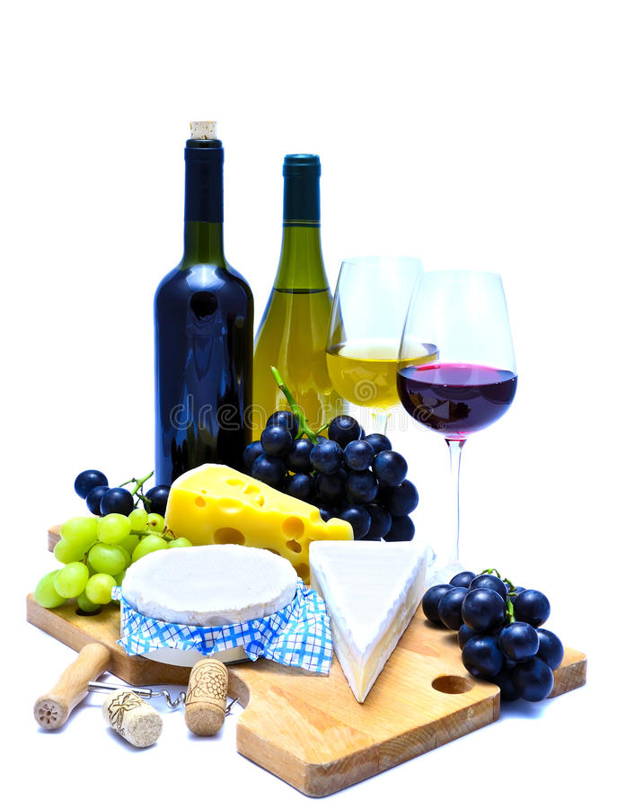 Cheese board and wine royalty free stock photos