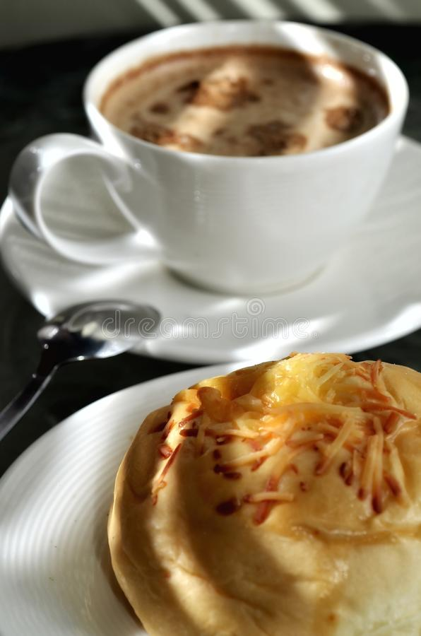 Cheese Bread an Coffee stock photography