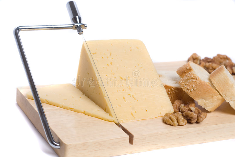 Cheese with bread and walnuts royalty free stock photo