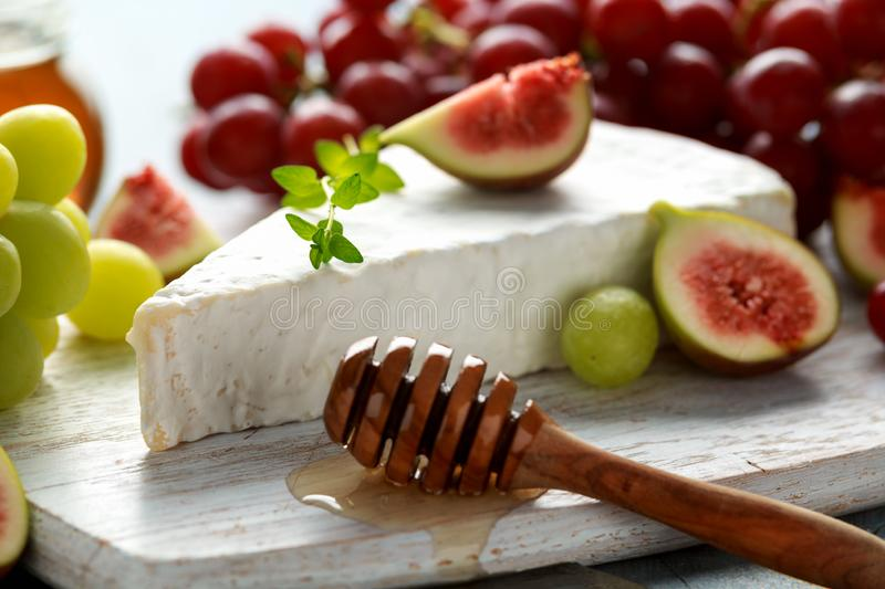 Cheese brie with figs, green and red grape and honey on white wooden board.  royalty free stock images