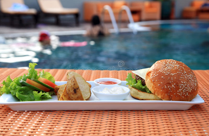 Download Cheese burger stock photo. Image of plate, delicious - 21050494