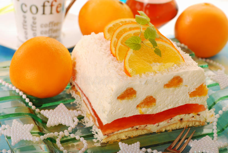 Cheese cake with oranges and jelly for christmas stock image