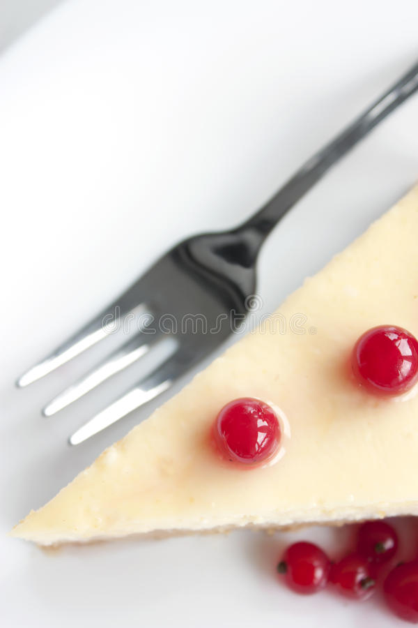 Cheese cake with red currant stock photos