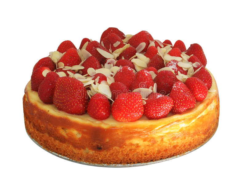 Cheese cake with strawberries and almonds stock images