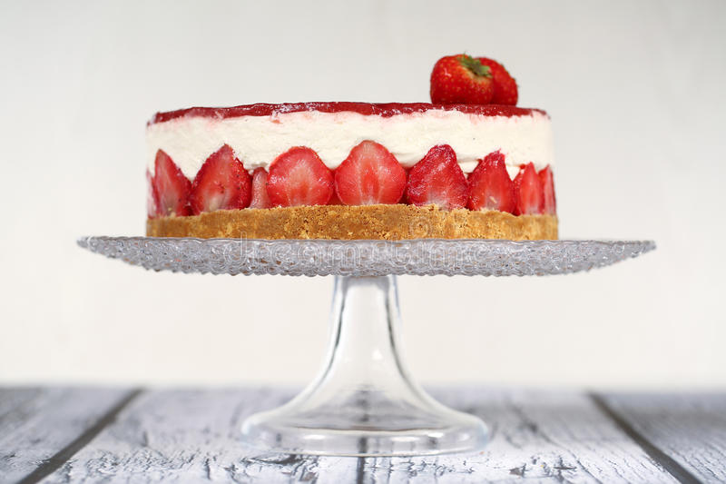 Cheese Cake. Strawberry cheese cake on a plate stock photo