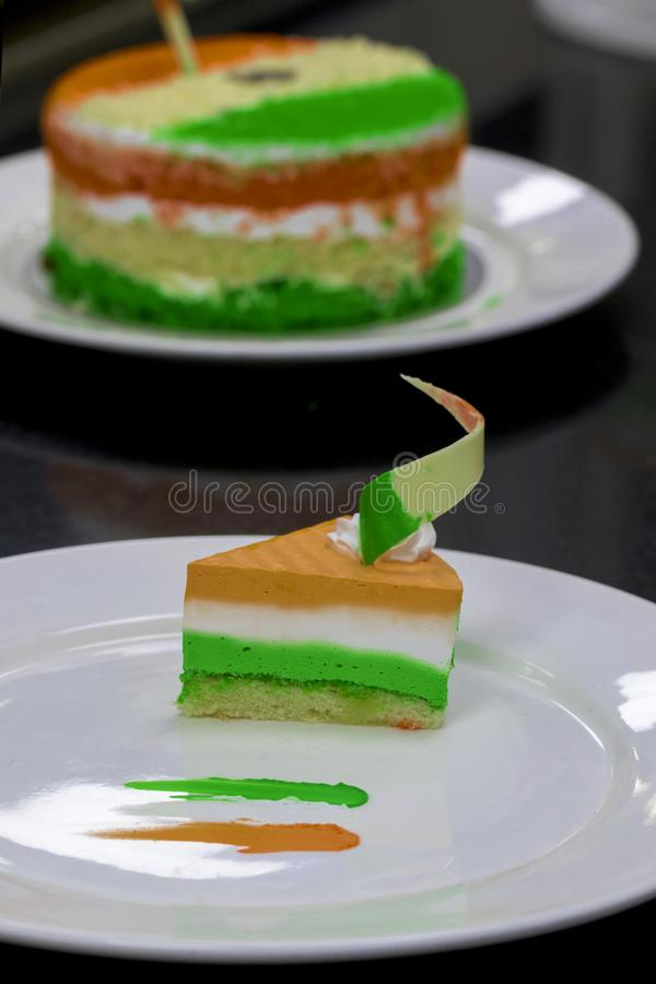 Cheese Cake Tri-coloured Independence Day or Republic Day Special. Indian National Flag colours like saffron, wh15th August India. Cheese Cake Tri-coloured royalty free stock photo