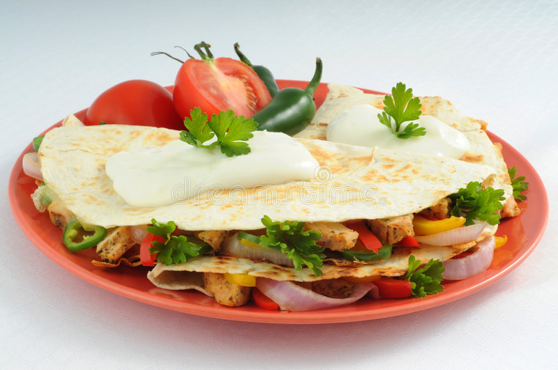Cheese and Chicken Quesadillas royalty free stock photo
