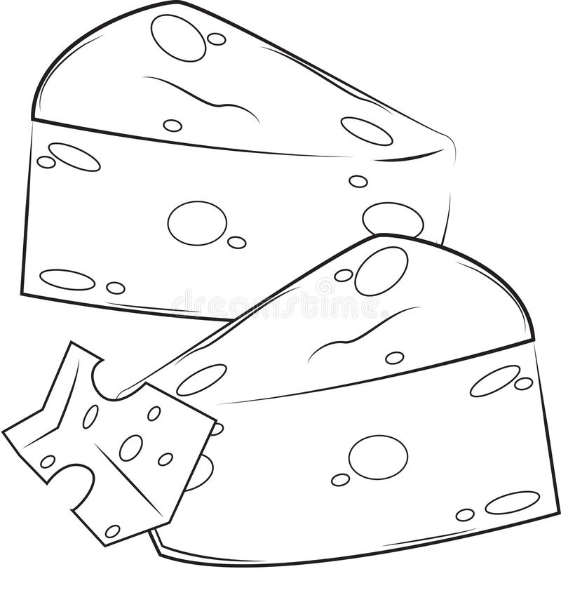 Cheese coloring page stock illustration. Illustration of detail ...