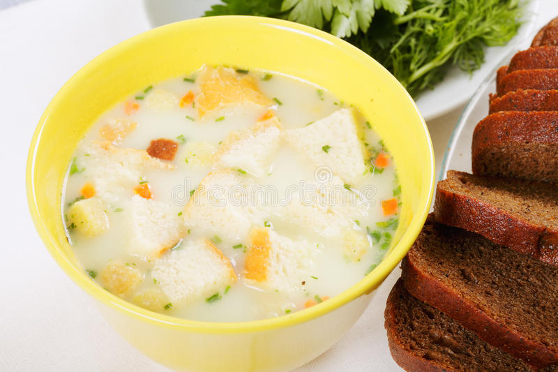 Cheese cream soup stock photography